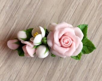 Rose barrette, barrette with rose roses and jasmine, flower floral barrette, bridal barrette, polymer clay barrette, cold porcelain