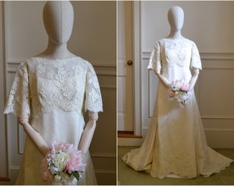 1960s Montaldo's Lace and Organza Wedding Dress and Train