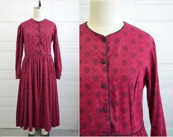 1980s Laura Ashley Deep Red Print Dress