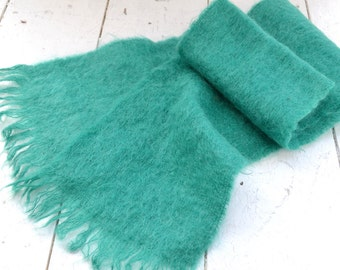 1960s Green Mohair Scarf