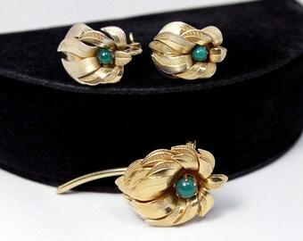 Unusual Modernist Flower Brooch and Earring Set