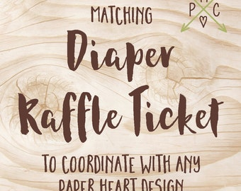 ADD ON: Matching Diaper Raffle Ticket to coordinate with any Paper Heart Design - Design file