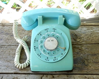 Aqua rotary phone blue turquoise 1960s rotary desk phone vintage working phone