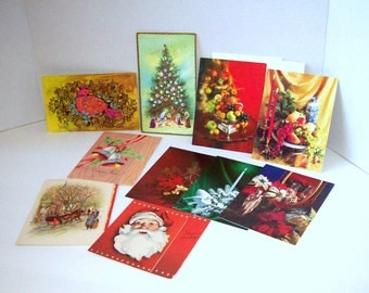 Vintage Christmas cards assorted lot  of ten unsigned 1950s through 1970s