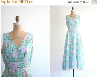 SALE / pastel floral print 60s maxi dress - vintage 1960s mod dress / Aqua Blue - 60s prom / mod vintage wedding - retro bridesmaid