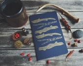 Dark Blue with Gold Print Woods Large Notebook Moleskine Journal Hand Carved Linocut Sticks Nature Christmas Hostess Present Winter Writer