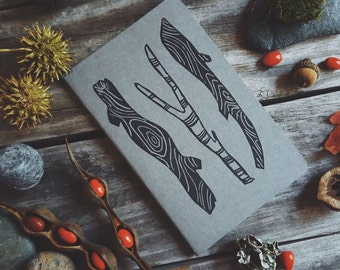 Gray Woods Notebook Moleskine Journal Hand Carved Linocut Sticks Nature Christmas Gift Hostess Present Men Women Autumn Winter Writer