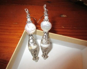 Luxe Baroque Freshwater COIN PEARL, STERLING Silver, Tibetan Conch Shell, Swarovski Crystal Dangle/Drop Pierced Earrings w/Pearl Accents