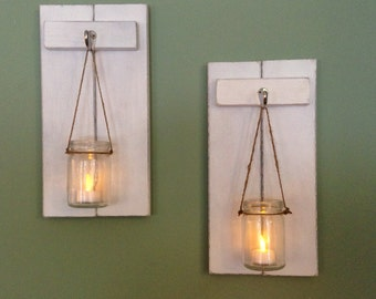 rustic wall sconce wooden candle holder mason jar candle holder rustic sconce