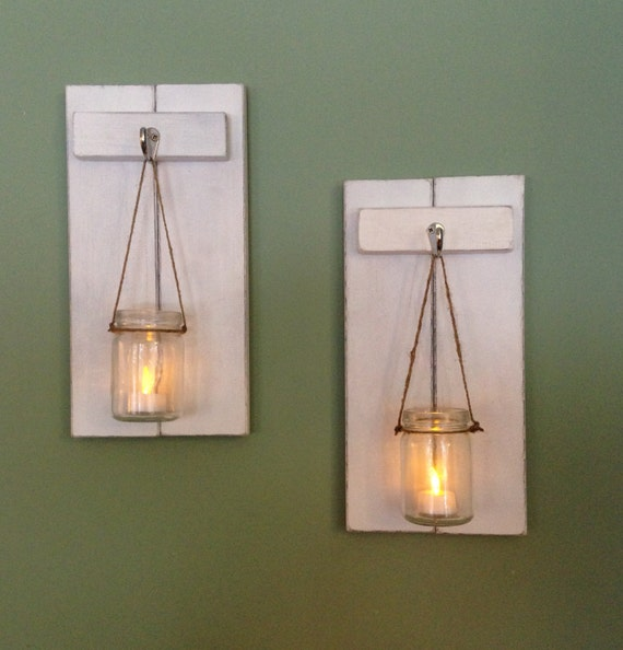 Wooden Wall Sconce Candle Holder : Rustic Wall Sconce Wooden Candle Holder Mason Jar Candle