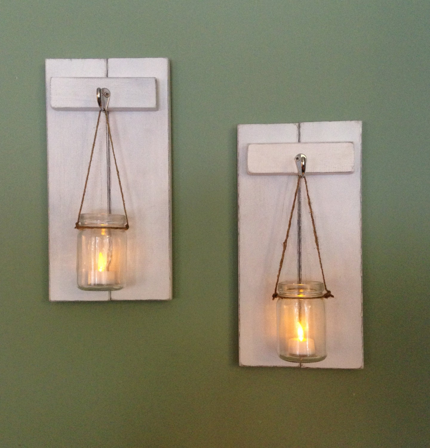 Rustic Wall Sconce Wooden Candle Holder Mason Jar Candle