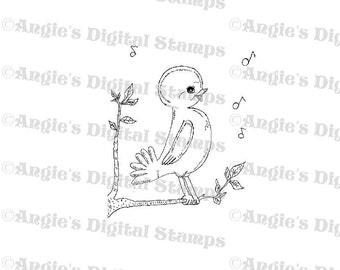 Bird Singing Digital Stamp Image