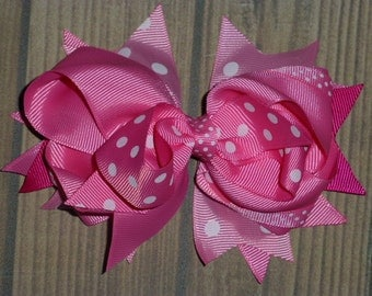 Girls Stacked Hair Bow in Hot Pink/Medium Pink/Light Pink for baby toddler little girls Hot pink hair bows