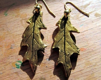 Earrings Red Real Oak Leaf Impression in Clay with Gold Patina