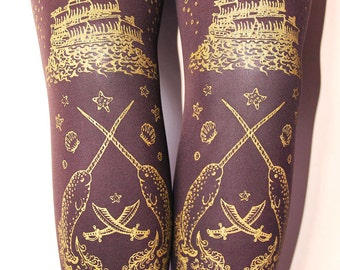S M Pirate Tights Narwhals Small Medium Gold on Brown Womens Tattoo Sailor Octopus Squid Anchor Lolita Nautical Steampunk Victoriana