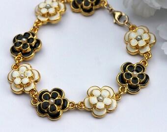 Rose Flower Bracelet, Beaded Bracelet, Link Bracelet, Metal Bracelet,  Bridal Jewelry, Wedding Bracelet, Resort Bracelet, Modern Fashion