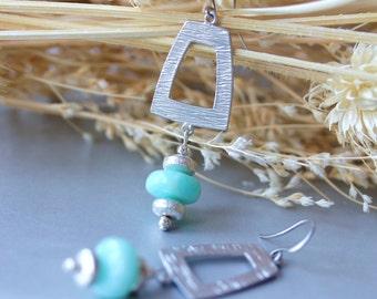 Blue Opal Earrings, Dangle Earrings, Drop Earrings, Chandelier Earrings, Gemstone Earrings, Bridal Jewelry, Wedding, Modern, Wedding Earring