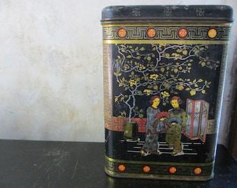 Vintage Chinese tea tin / coffee tea box / Chinoiserie decor / bohemian decoration / organization supply storage kitchen