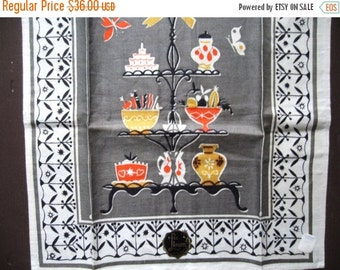 SALE15% Goody etagere. Lovely vtg linen kitchen towel / MWT / never used unused / gray red yellow / midcentury