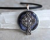 heather Celtic Cross necklace, celtic jewelry, mens necklace, irish jewelry, unique gift, mens jewelry, irish necklace, cord necklace