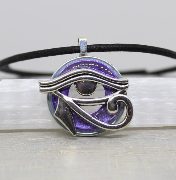 purple eye of horus necklace, mens jewelry, cord necklace, mens necklace, unique gift, Egyptian god, Egyptian symbol, The Wadjet, mens gift