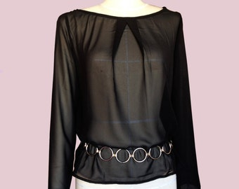 Black Chiffon tunic. Transparent long sleeve tunic. mousseline fabric bloue