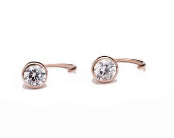 White Zirconia Hug Hoops, Sterling Silver & Gold Plated , Gemstone Earrings, Open Hoops, Minimalist Jewelry, Hand Made, Xmas Gift, EAR041