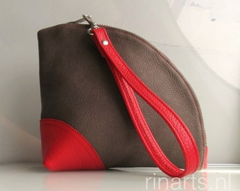 Leather Q-bag clutch / leather zipper pouch /  leather wristlet in taupe full grain leather and red leather detailing.  Color block clutch