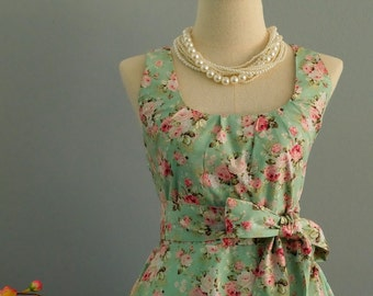 My Lady - Mint Green Floral Dress Spring Summer Sundress Green Floral Bridesmaid Dresses Country Mint Dress Floral Party Prom Dress XS-XL