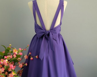 purple dress purple  party dress purple prom dress purple cocktail dress bow back dress purple bridesmaid dresses purple backless dress