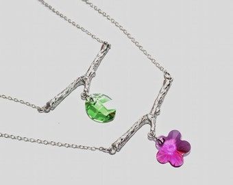 Bird Branch Swarovski Crystal Necklace Flower or Leave Shape with White Gold Plated Chain