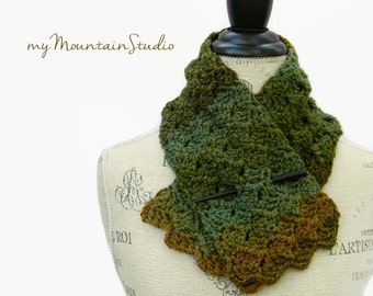Ladies Handmade Brown Green and Copper Neckwarmer Scarf. Ozarka Forest. Ready to Ship.