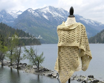 Beautiful Lacy Wrap in Beige and Muted Green - Women's Handmade Shawl - SALE 30% OFF