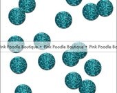 "1"" pre-cut GLITTER CIRCLE CONFETTI (100 pc)  --  Turquoise/Teal Blue  --  create you own garland, envelope seals, favor tags & more!"