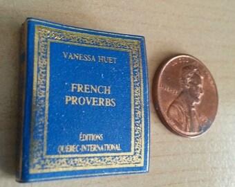 Year End Sale Dollhouse Micro Miniature Book - Huet French Proverbs