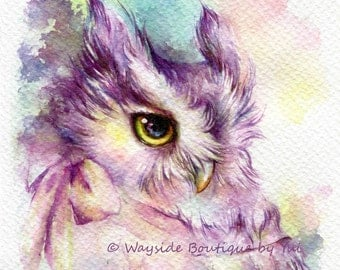PRINT – Owl with bow - Watercolor painting 7.5 x 11""
