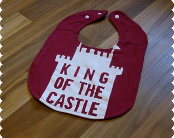 King of the Castle Baby Bib, Recycled T-Shirt Baby Bib, Baby Boy Baby Shower Gift, Funny Bib, Funny Baby Gift