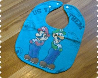 Mario and Luigi Baby Bib, Recycled T-Shirt Baby Bib, Video Game, Super Mario Bros, Baby Boy Gift Baby Shower
