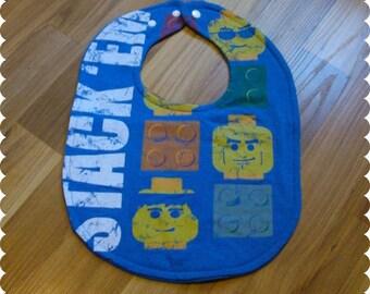 Lego Heads Baby Bib, Recycled T-Shirt Baby Bib, Baby Boy Baby Shower Gift, Lego Man