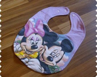 Mickey and Minnie Mouse Baby Bib, Recycled T-Shirt Bib, Glitter, Disney Baby Shower, Baby Girl Gifts