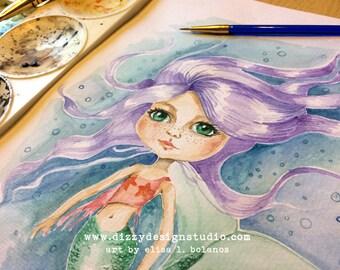 Big Eyed Mermaid Original Watercolor Painting / Art