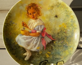 Little Miss Muffet Reco Collector Plate 1981 Boy Girl Mother Goose Series John McClelland Painted Plate Nursery Decor Limited Edition