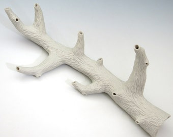 Carved porcelain faux white branch with 5 side branches, faux bois, unglazed