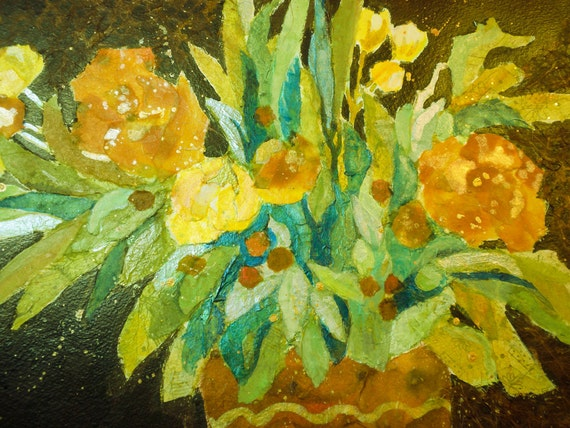 Tissue Paper Collage Mixed Media Flowers Floral Interior Decor