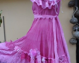 """20%OFF vintage inspired bright pink bohemian fairy dress,,smaller to 38"""" bust..."""