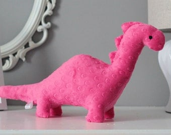 Stuffed Dinosaur Toy - Hot Pink Minky Plush Dinosaur - Baby Shower Gift - Nursery Decor - Stuffed Animal - Dino Toy -  Kids Christmas Gift