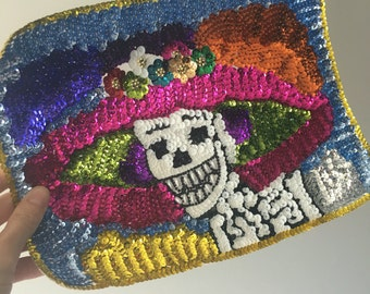 Mexican catrina skeleton day of the dead skull lady applique Large Sequin Patch for sewing crafting collage artwork / Bead applique