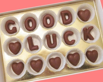 Personalize Retirement Personal Gift for Friend Co Worker Men Women Him Her Good Luck Custom Name Large Milk Chocolate Letter Cool Creative