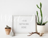 A4 White Frame - (Landscape)  Empty Frame, Stock Photo, Styled Photography, Mock up, prints, illustration, painting