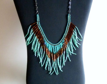 Native American necklace, turquoise and gold